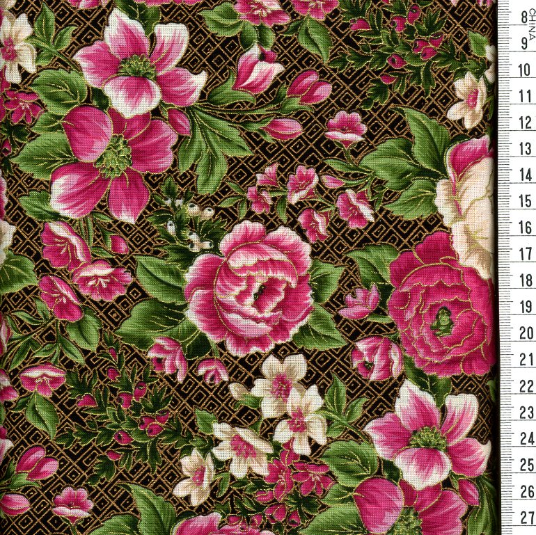 fleurs, fushia, vert, blanc - Roland BESSET... l ...
