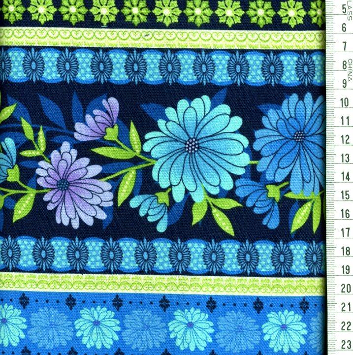 fleurs turquoises bandes fond bleu fonc roland besset l 39 incontournable du patchwork. Black Bedroom Furniture Sets. Home Design Ideas