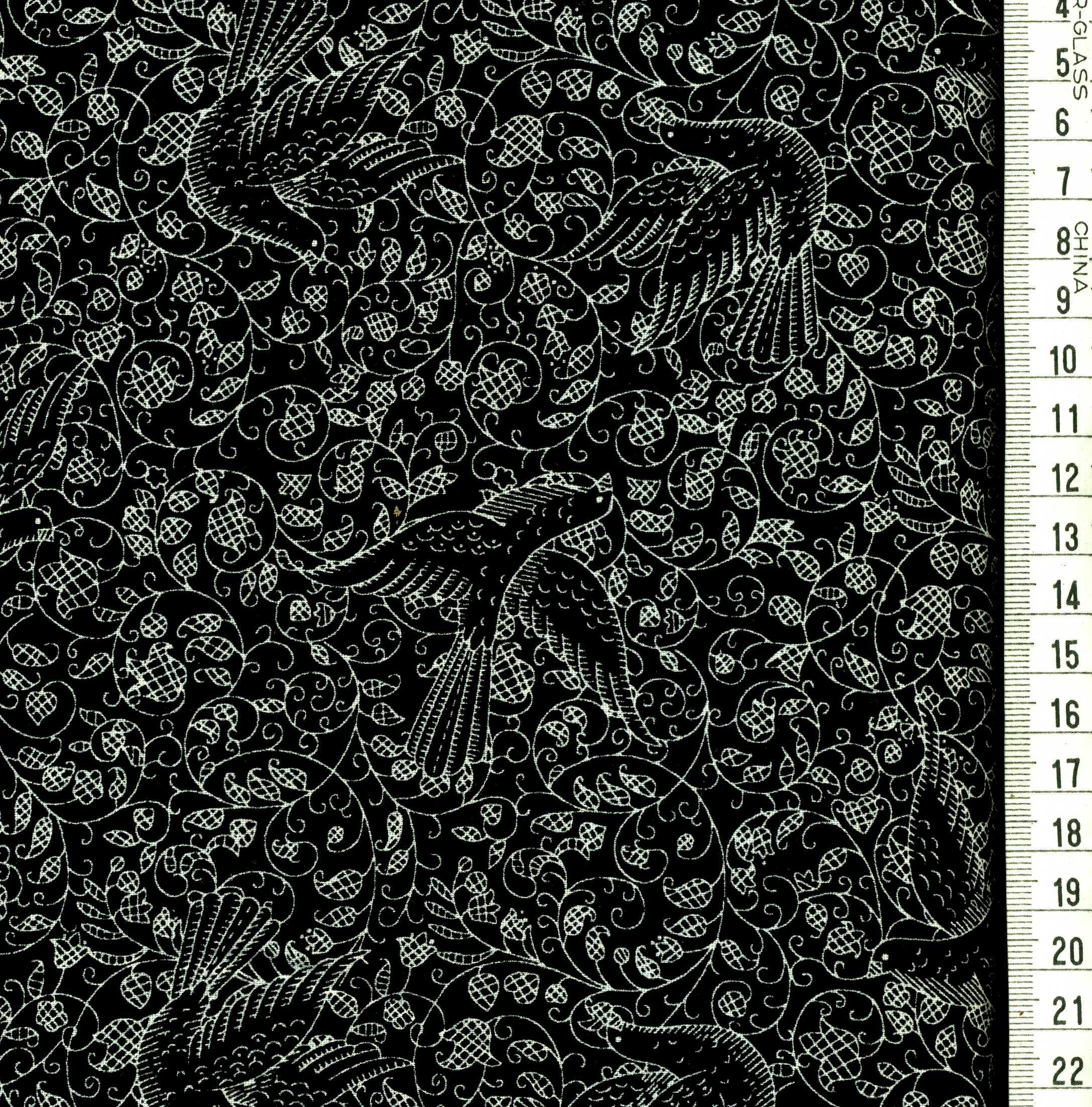 Colombes et feuillage blanc fond noir atelier d 39 art gala l 39 incon - Tissus noir et blanc ...