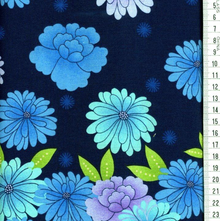 Fleurs Turquoises Fond Bleu Fonce Roland Besset L