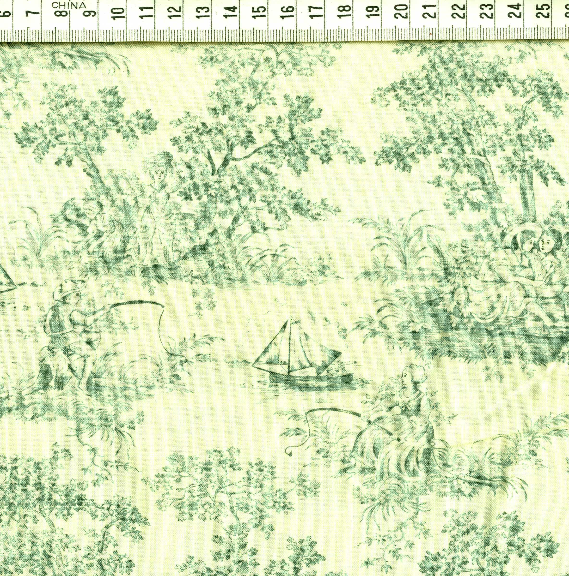 toile de jouy motifs bleu vert fond cru roland besset l 39 incontournable du patchwork. Black Bedroom Furniture Sets. Home Design Ideas